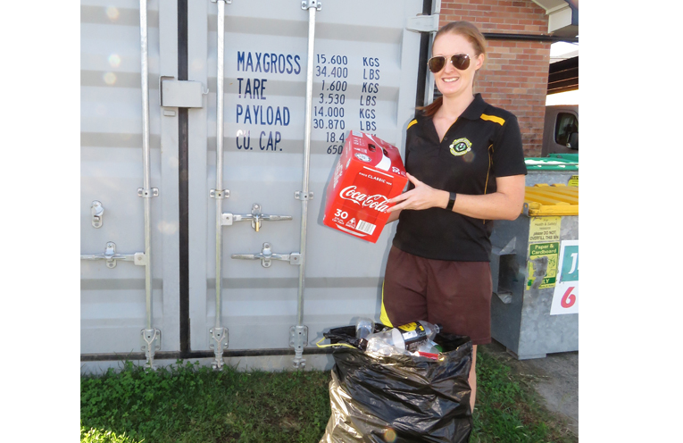 Jess Gordon ready to cash in her containers at the Bowling Club.
