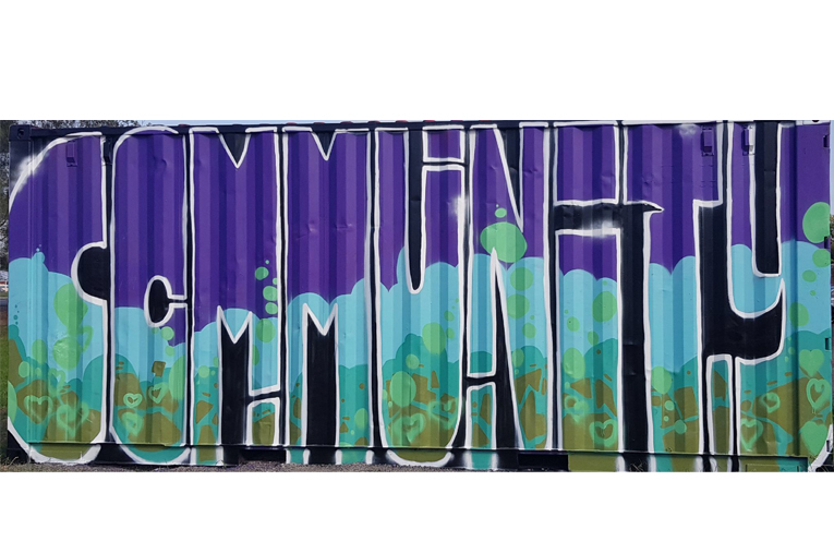 The finished product - the mural created on the long wall of the shipping container.