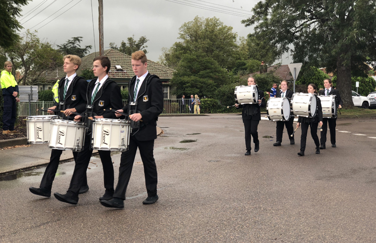 Irrawang High School drum corp in the march.