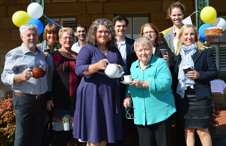 Meryl Swanson with home baker Barbara Heaton and guests at Australia's Biggest Morning Tea.