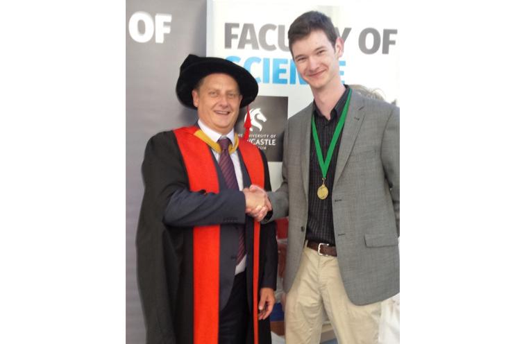 Professor Brett Neilan with medal recipient Angus Rae.