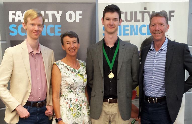 Richard, Meredyth, Angus and Stephen Rae at the University of Newcastle.
