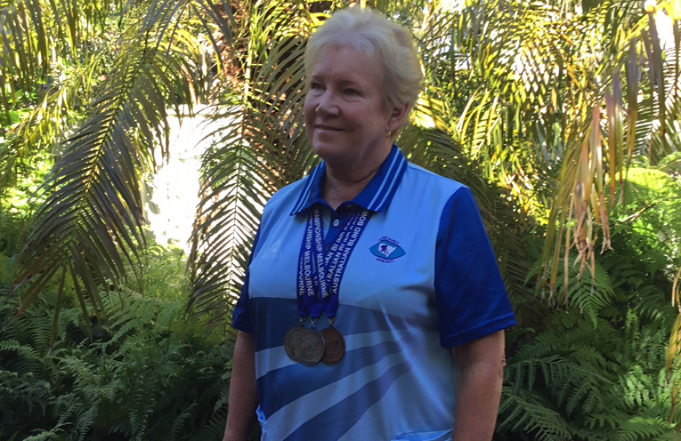Jacqueline Hudson with her medals.