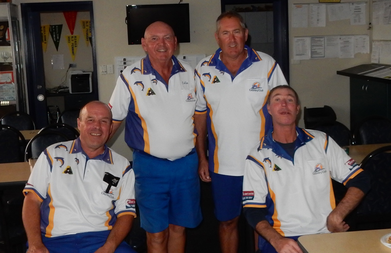Winning Grade 4 team of, from left, Mark Hair Col Amos, Ken Devlin and Jeff Baker after their tough win on Saturday.