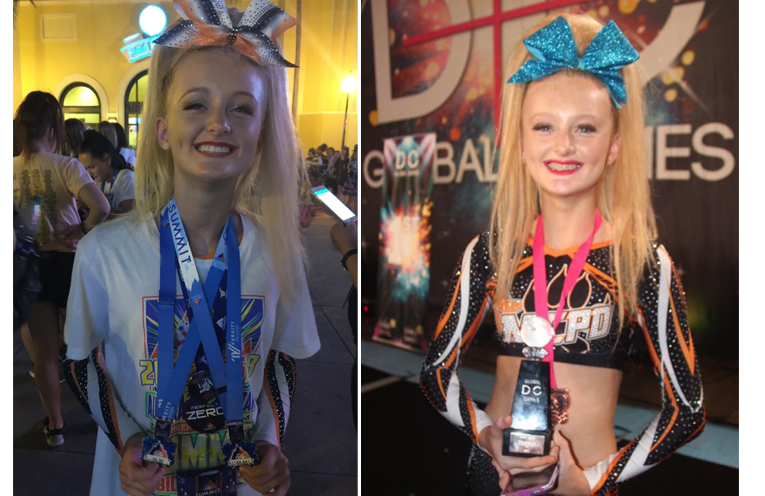 The world is Georgia's oyster. (left) Georgia Almond competes at Summit World Cheerleading Championships. (right)