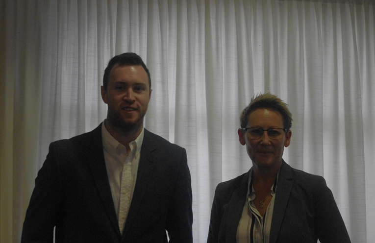 Lachlan Stronach with Tomaree Business Chamber President Leah Anderson. Photo by Marian Sampson.
