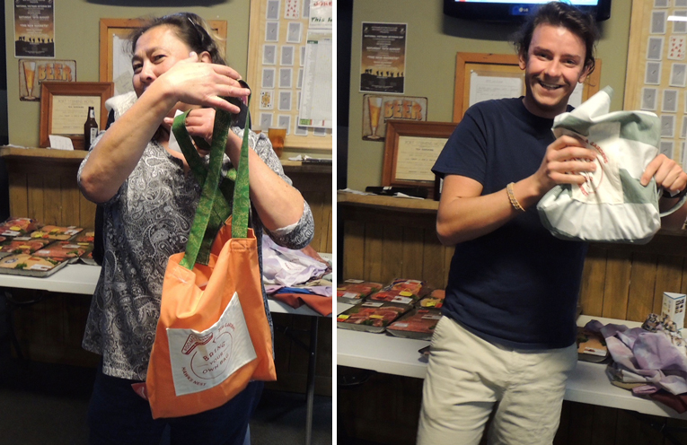 HAPPY RAFFLE WINNER: Lia with her boomerang bag at Tea Gardens Hotel. (left) HAPPY RAFFLE WINNER: Wyatt with his boomerang bag. (right)