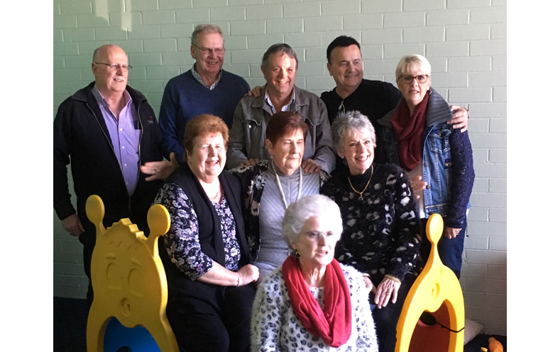 PARISH FAMILY REUNION IN BULAHDELAH: Geoffrey, Eric, Phillip, Geoffrey, Liz (back row). Helen, Barbara and Louis (middle), Sue (front row).