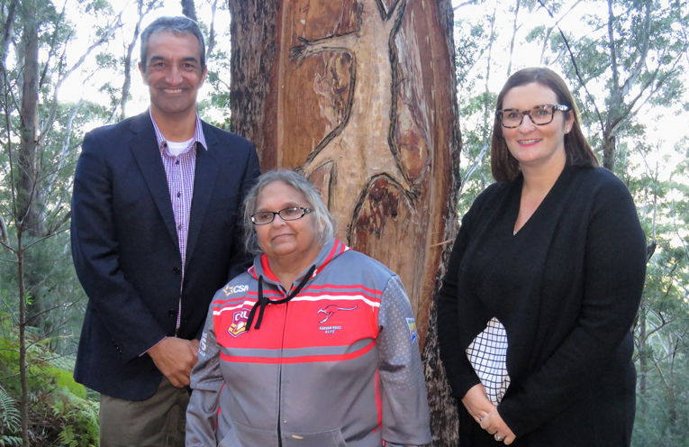 Head of NSW Aboriginal Affairs Jason Ardler, Karuah Elder Aunty Fiona Manton and NSW Minister for Aboriginal Affairs Sarah Mitchell at Boolah-Dillah.