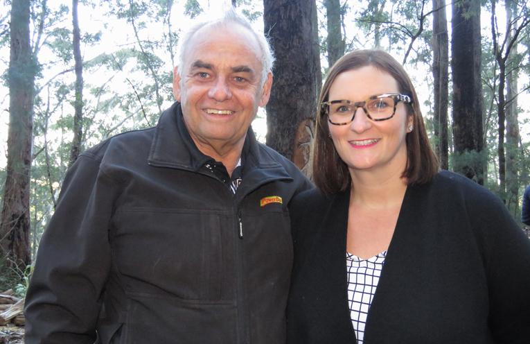 Karuah Aboriginal Land Council CEO Len Roberts with Minister for Aboriginal Affairs Sarah Mitchell.