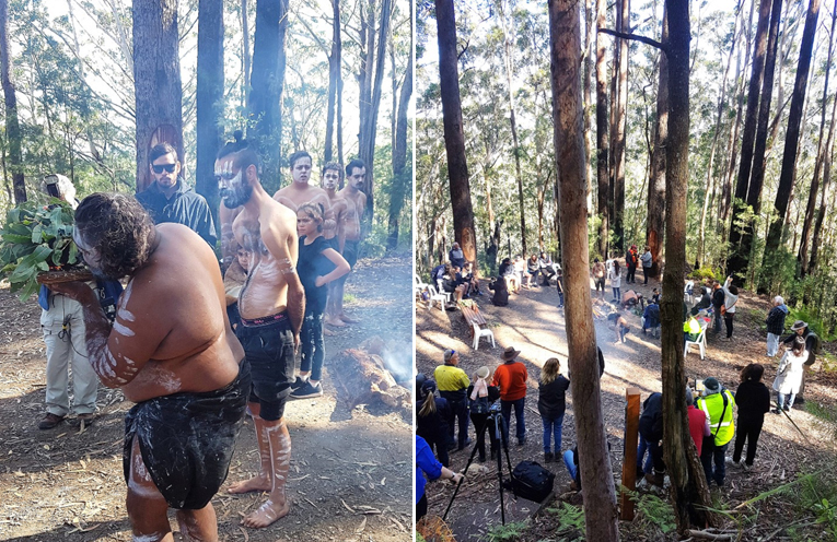 Traditional smoking ceremony performed by the Worimi people. Photo: Kev Carter (left) The cultural space at Boolah-Dillah. Photo: Kev Carter (right)