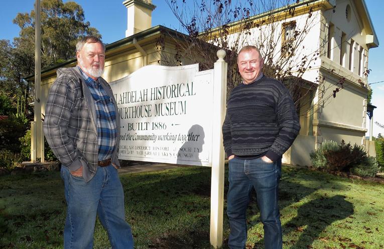 Bulahdelah Historical Society President Kevin Carter with Myall Lakes MP Stephen Bromhead.