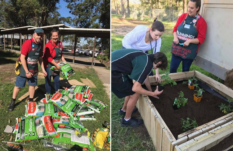 Rob and Louise from Bunnings Heatherbrae with just some of the donate supplies. (left) Louise instructs the students on their plant propagating.  (right)