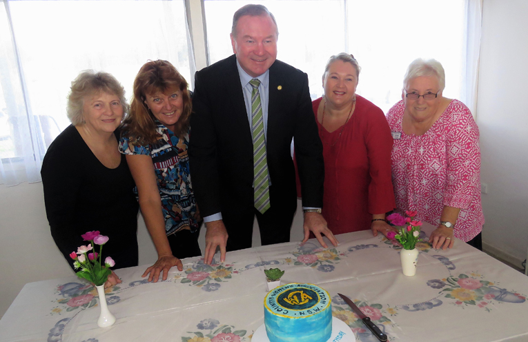 Birthday Celebrations: Myall Lakes MP Stephen Bromhead with CWA members Robyn Cheers, Lore Green, Belinda Myers and Kylie Paar.