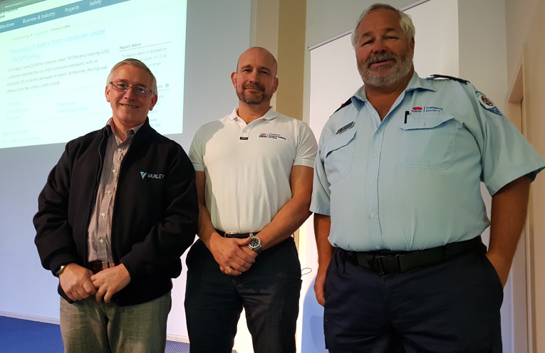 TEA GARDENS CLEAN UP MEETING: Pierre Sidorow (Varley), RMS Executive Director Angus Mitchell and RMS Tony Woodfield.
