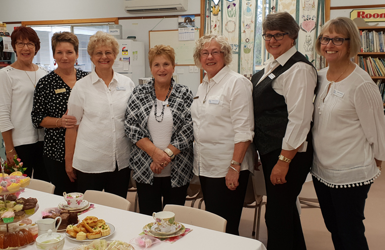 HIGH TEA ORGANISERS: Janette Coppock, Susan Burns,  Lyn Ridge, Maryanne Durrant,  Leona Clissold, Karen McPhee and Jenny Hughes.