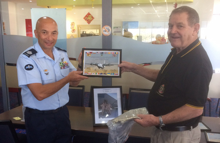 Karuah RSL Sub Branch Peter Fidden by Warrant Officer Brent Leong a Loadmaster from RAAF 37 Squadron Richmond NSW.