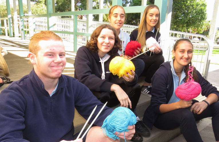 Ready to Knit: Jason Onley, Caitlin Swain, Tahlia Mancini, Kristyl Bartyn and Heidi Buchanan.