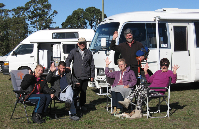 Happy campers setting up at the RSL Oval.