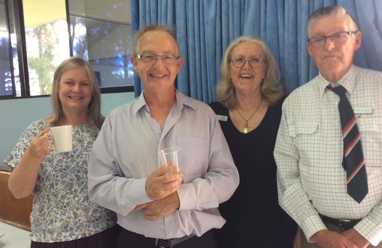 Alison and John Bleyerveen, Church Council Secretary Andrea Robinson and Church Council President Wal McLeod being welcomed by the congregation of PS Uniting Church.