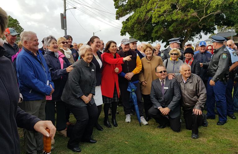 TEA GARDENS POLICE STATION: Locals welcome NSW Premier Gladys Berejiklian.