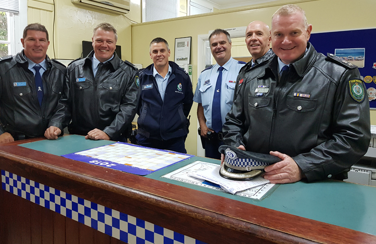 POLICE PRESENCE: Senior Constable Dave Coyle, Constable Trent Moffat, Senior Constable Rob Wylie, Snr Sergeant Geoff Farmer, Inspector Alan Janson and Superintendent Craig Jackson.