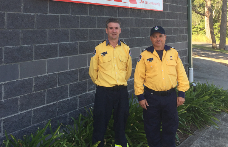 Medowie Rural Fire Brigade Captain Andrew Collins and Senior Deputy Captain Peter Smith.