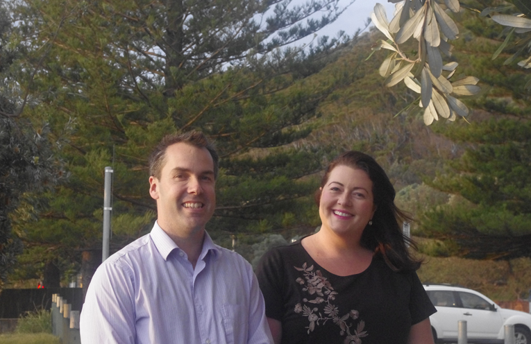 Port Stephens Mayor Ryan Palmer with Councillor Jaimie Abbott at the entry to the Tomaree Coastal Walk which will see a 6.7 million dollar investment over a four year period. Photo by Marian Sampson.