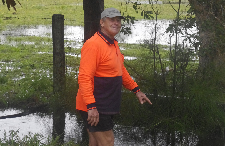 Ron Swan OAM at Bobs Farm after recent rainfall. Photo by Marian Sampson.