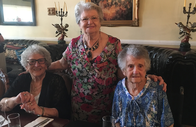 Nelson Bay Probus Club Welfare Officer Pat Phelps, with Barbara Swab and Lifetime Member, Margaret Waters, from Regis Nursing Home attending a Probus get together.