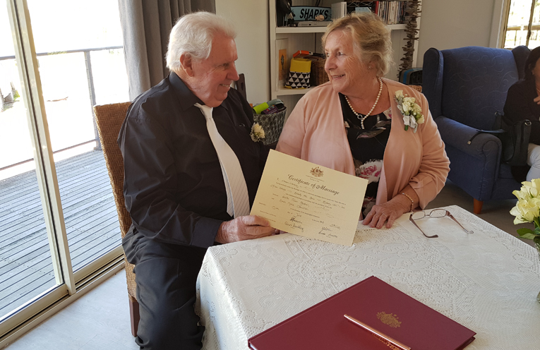 BRANDY HILL: Dawn Johnston and Neville Goodwin tie the knot.