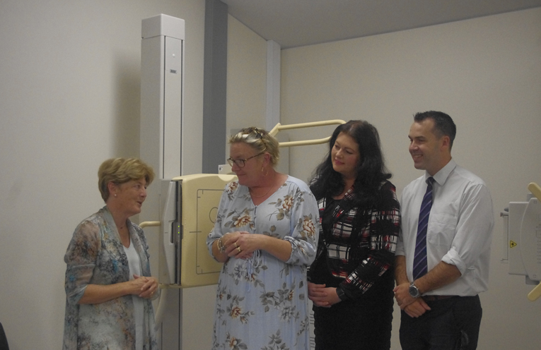 1.Duty MLC for Port Stephens Catherine Cusack, Gabby Holm-pounder, Councillor Jaimie Abbott and Mayor Ryan Palmer inspecting the new upgraded X-Ray room at Tomaree Community Hospital. Photo by Marian Sampson.