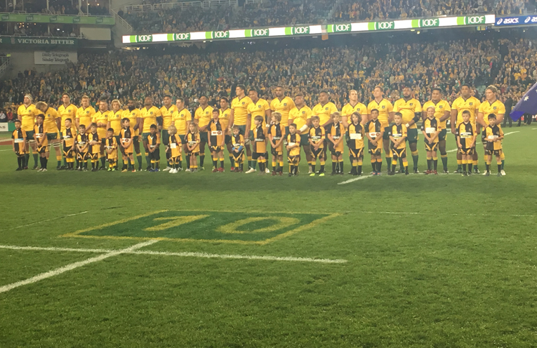 On field with the Australian team.