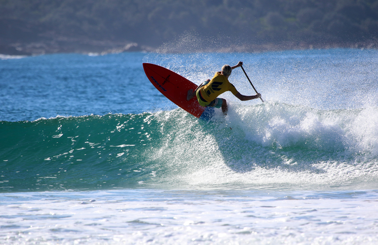 Anna Bay's Josh Stretton in the Stand Up Paddle Junior Titles. Photo Credit : Terry Day / Surfing NSW.