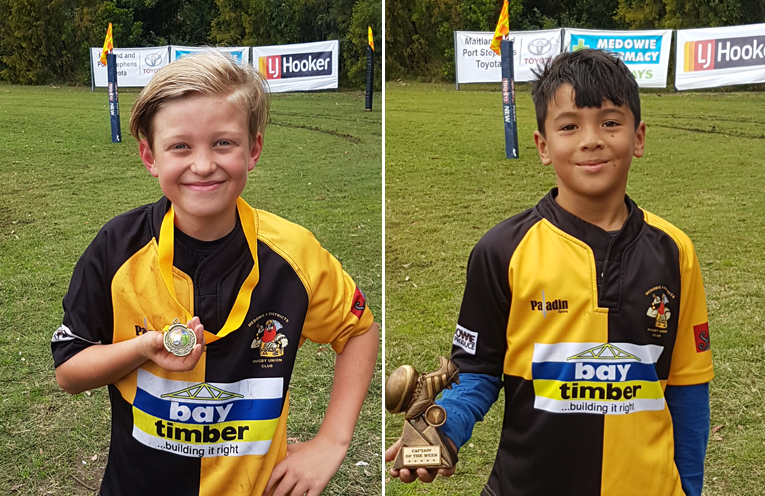 Dylan, player of the week for Medowie under 9s. (left) Tiger, Captain for the week for Medowie under 9s. (right)