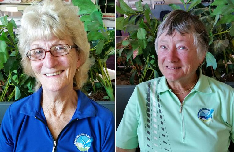 Winner of Saturday's Grandmothers Trophy, Carol Wiggins. (left) Winner of Tuesday's Grandmothers Trophy, Janet Merryweather. (right)