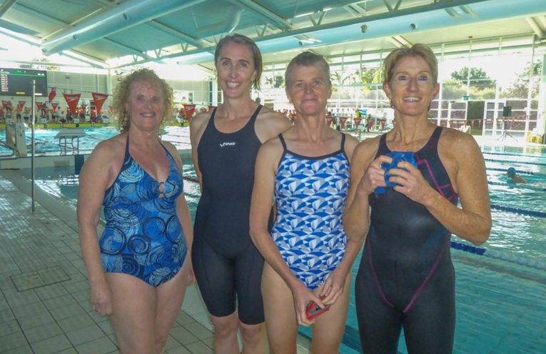 MYALL MASTERS SWIMMERS: Ronnie Nichols, Christine Sefton, Sharon Taylor and Linda Stubbs.