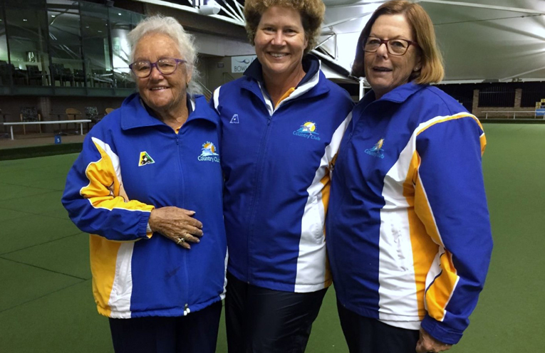 Runners up Newcastle District Triples Competition Maynie Roberts, Robyn Beaumont and Kayelene Pearson.