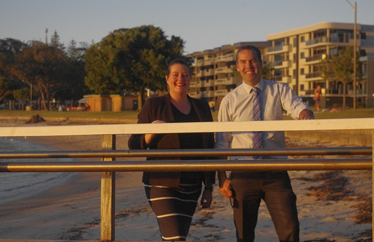 Councillor Jaimie Abbott with Mayor Ryan Palmer at the Little Beach Wharf which is currently being upgraded to include an accessible fishing platform. Photo by Marian Sampson.