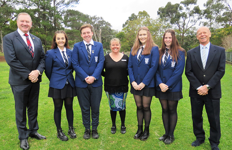 Member for Myall Lakes Stephen Bromhead, MidCoast Mayor David West and Relieving Principal Deb Gilbert with the newly elected Captains and Vice Captains.