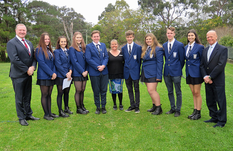 Member for Myall Lakes Stephen Bromhead, MidCoast Mayor David West and Relieving Principal Deb Gilbert with the incoming and outgoing Captains and Vice Captains.