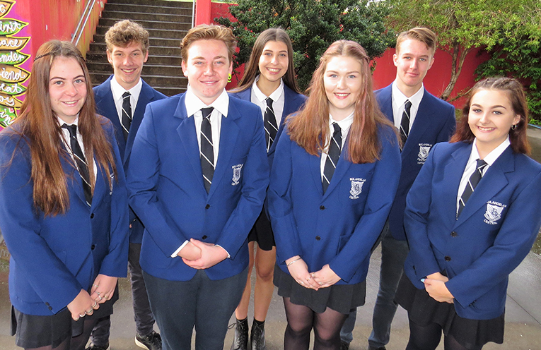 Outgoing Vice-Captain Zac Fletcher and Captains Maddison Boyd and Luke Rochester with incoming Vice-Captain Jordyn Watt, Captains Liam Garemyn and Ashleigh Dorney and Vice-Captain Madison Hurtado.