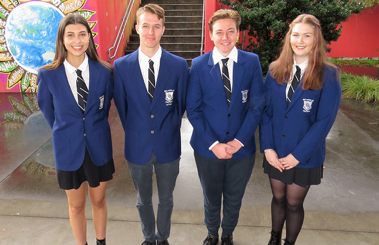 Outgoing Captains Maddison Boyd and Luke Rochester with newly elected Captains Liam Garemyn and Ashleigh Dorney.