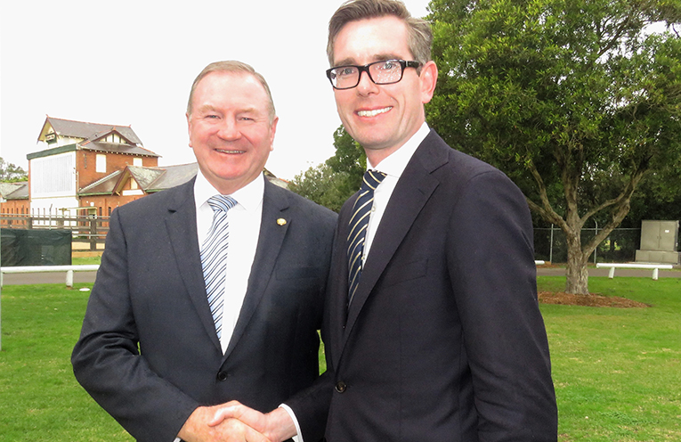 Myall Lakes MP Stephen Bromhead and NSW Treasurer Dominic Perrottet.