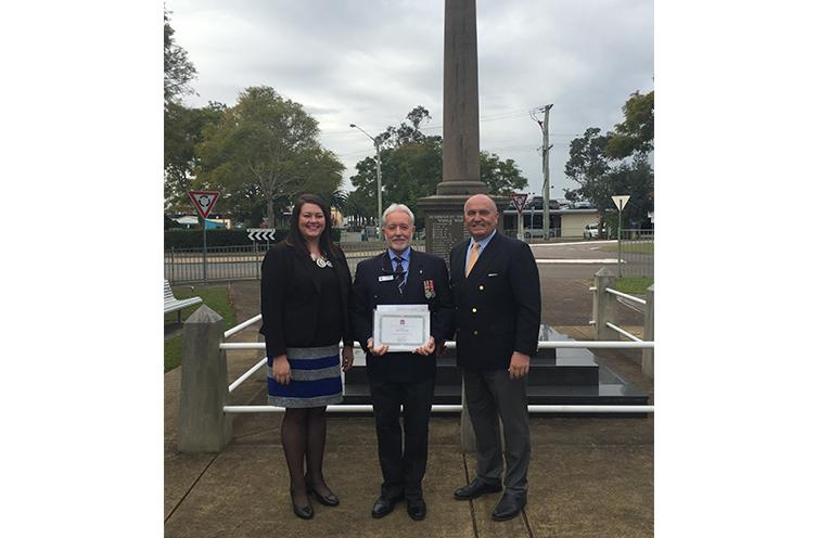 Port Stephens Councillor Jaimie Abbott, MP David Elliott and Raymond Terrace RSL Sub branch President Vic Jones at the Raymond Terrace War Memorial.