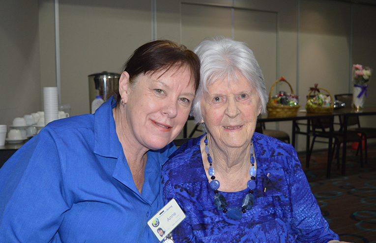Min with one of her carers, Anne, from Integrated Living in 2017.