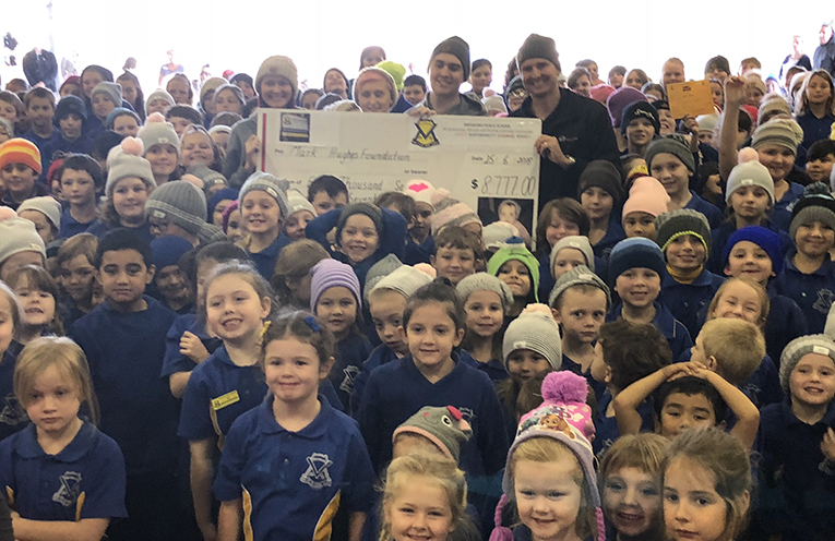 Students, staff and honoured guests at Ivyanna's Beanies for Brain Cancer assembly.