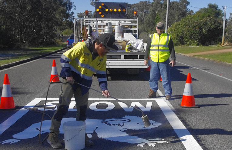 C Jay with Ron Land of Port Stephens Koalas putting the finishing touches on one of the 20 on road signs asking drivers to slow down for koalas. Photo by Marian Sampson.