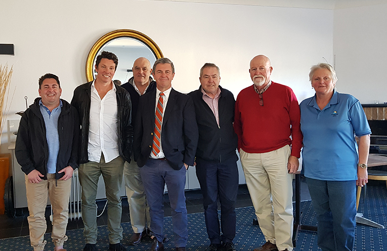 CHAMBER MEETING: Les Smith, Ben Hanson, Rob Jeffress (at back) Dr David Gillespie, Graham Lang, John Dunning and Heather Vaughan.