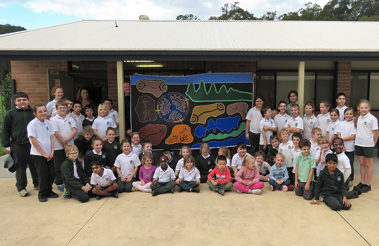 The whole school contributed to creating a contemporary Aboriginal artwork at St Joseph's.